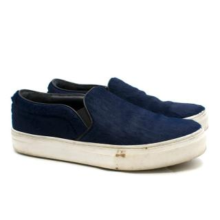 Celine Navy Pony Hair Slip-on Sneakers