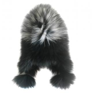 Amber Bishop Black & White Fox Fur Hat