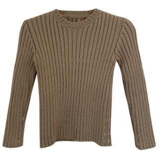 Prada Beige Ribbed-Knit Wool Jumper