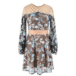Elliatt Collective Gold-Lattice & Blue Floral-Embroidered Dress