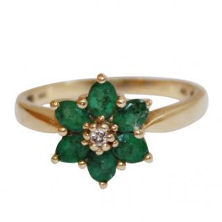 Columbian Emerald 14ct Gold Daisy Ring