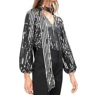 Rixo Moss Tie-Neck Metallic-Striped Blouse