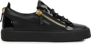 Giuseppe Zanotti zip-trimmed black leather trainers