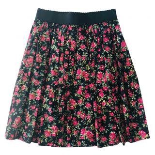 Dolce & gabbana Red Roses-print cotton A-line skirt