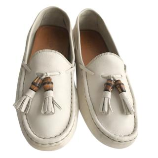Gucci tassel leather flat loafers