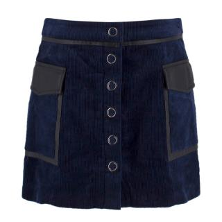Ramy Brook  'Drea' Navy Corduroy and Leather Skirt
