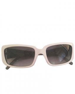 Fendi White Rectangle-Frame Vintage Sunglasses
