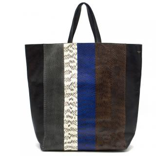 Celine Cabas Python Striped Tote Bag