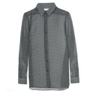Dries Van Noten green geometric-print sheer silk shirt