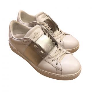Valentino rockstud trainers white/ silver