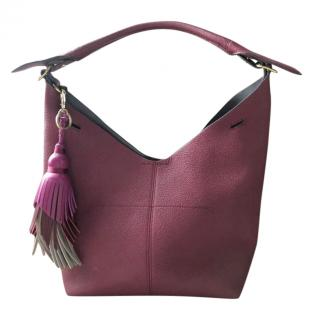 Anya Hindamrch 'Build a Bag' burgundy leather bucket bag