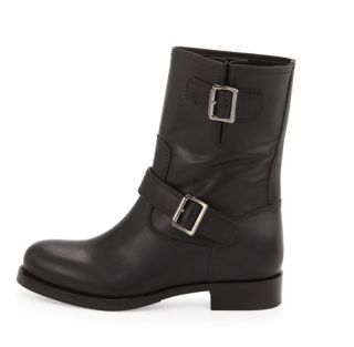 Prada Black Leather Silver Buckle Hidden Wedge Ankle Biker Boots