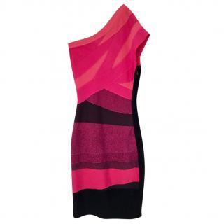 Herve Leger pink striped one shoulder dress, size S