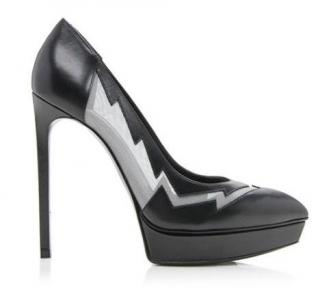 Saint Laurent Leather & Mesh Lightning Pumps