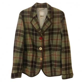 Marithe Francois Girbaud green & brown checked jacket