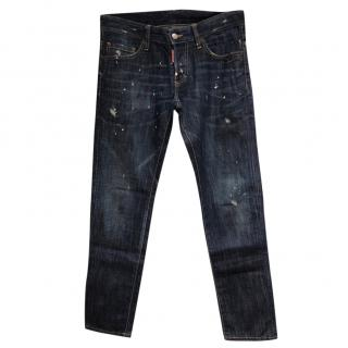 Mens Dsquared  Splatered Paint-print denim jeans