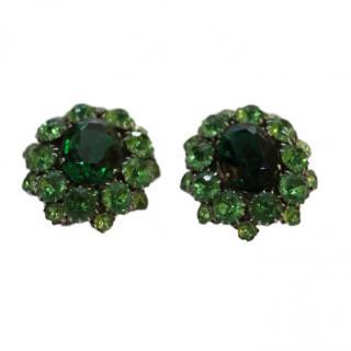 Bespoke Vintage 1950's Green Crystal Cluster Earrings