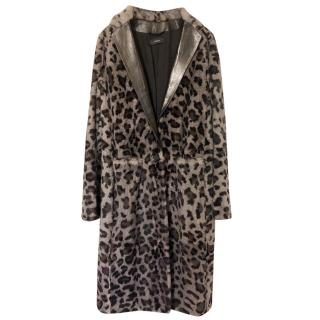 Joseph rabbit fur leopard print coat