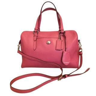 Coach Pink Leather Bowling Bag & Strap