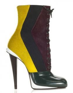 Fendi Colour-Block Leather & Ponyhair Ankle Boots