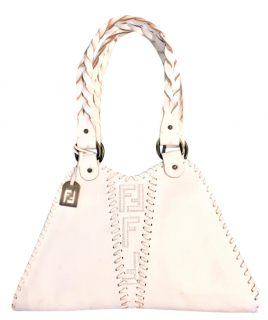 Fendi Limited edition Vintage White Whipstitched Tote Bag