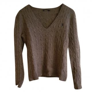 Ralph Lauren Polo Grey Cable-Knit Wool-Cashmere Jumper