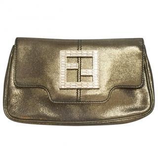Fendi gold crystal-embelished leather clutch