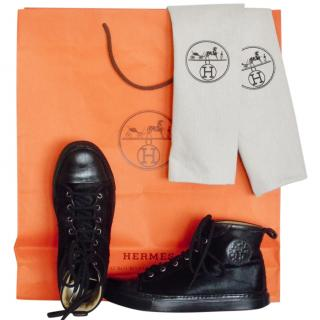 Hermes Jimmy black pony-hair high-top trainers