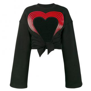 Y/Project Black Cut-out Heart Cropped Sweater