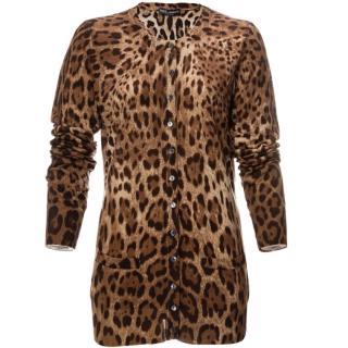 Dolce & Gabbana Leopard print silk cardigan
