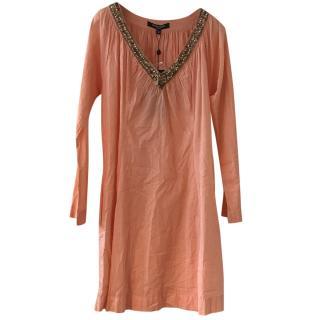 Ilse Jacobsen embellished-neck peach loose cotton shirt