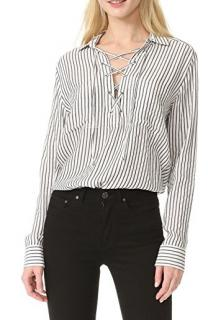 The Kooples lace-up striped shirt
