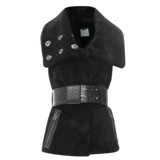 Thomas Wylde black belted shearling gilet