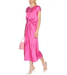 Helmut Lang Gathered Pink-Satin Dress