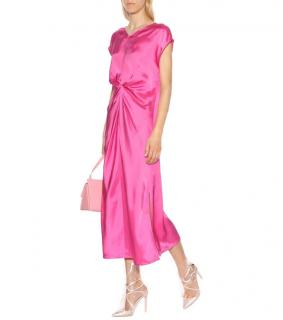 Helmut Lang Gathered Pink-Satin Dress