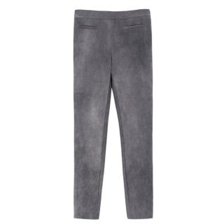 Milly high-rise stretch faux-suede grey leggings