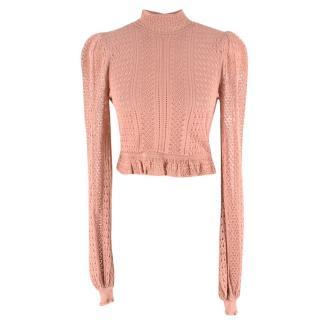 Ronny Kobo pink Antoinette Pointelle-knit crop top