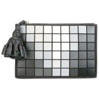 Anya Georgiana Grey Pixels leather clutch