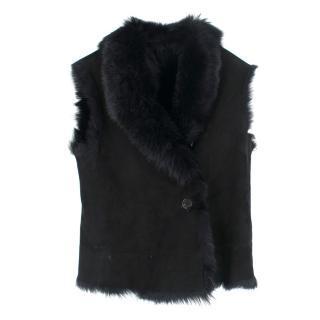 Bespoke black faux-fur sleeveless gillet