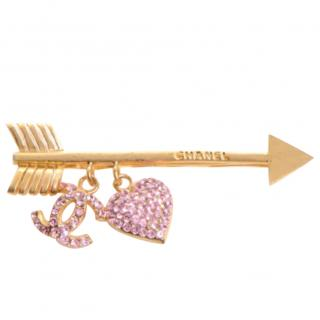 Chanel Heart Drop & Arrow Crystal Brooch Pin