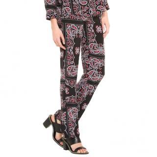 Sandro Pashmina-Print Silk Paisley-Print Trousers