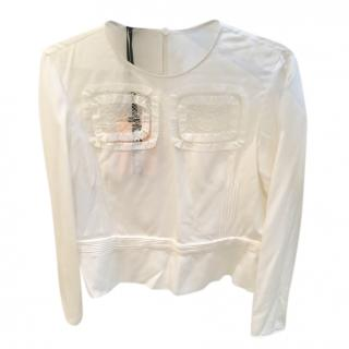 Rochas lace-insert silk blouse