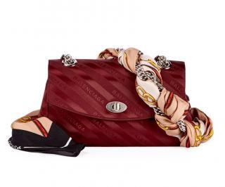 Balenciaga burgundy lock round satin scarf bag