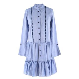 Shoshanna Blue Button-Down Tiered-hem Dress