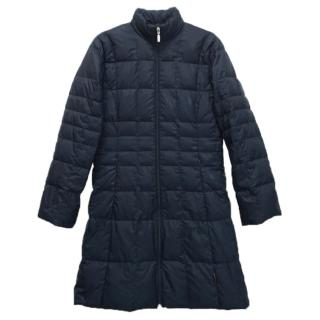 Moncler navy quilted-down long coat