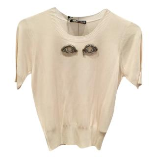 Rochas embellished-eyes short-sleeved knit top
