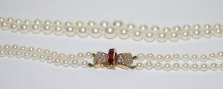 Bespoke Diamond & Ruby Embellished-Bow Double-Strand Pearl Necklace