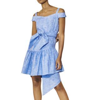 Paper London Pear sky-blue weave dress