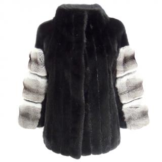 Svevian black mink & chinchilla short fur jacket