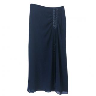 Lauren Ralph Lauren long line skirt in navy blue